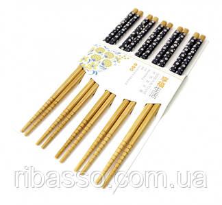 9220011 Палочки для еды бамбук с картинкой в блистере набор 5 пар №4