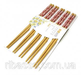9220011 Палички для їжі бамбук з картинкою в блістері набір 5 пар №1