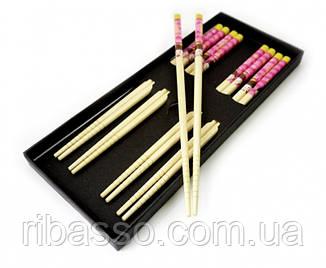 9220002 Палички для їжі бамбук з малюнком набір 5 пар №4