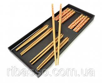 9220002 Палички для їжі бамбук з малюнком набір 5 пар №3