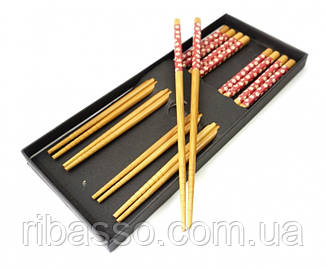 9220002 Палички для їжі бамбук з малюнком набір 5 пар №2