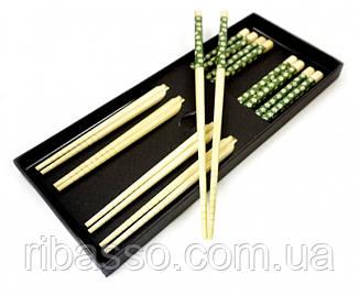 9220002 Палички для їжі бамбук з малюнком набір 5 пар №1