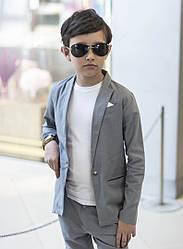 Костюм на выпускной в садик лен для мальчика двойка классика пиджак+брюки.