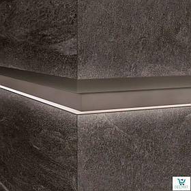 Алюминиевый профиль LQL/2 декоративная вставка для крупногабаритных плит с Led подсветкой 10х59,6х2800мм. Бетон графит