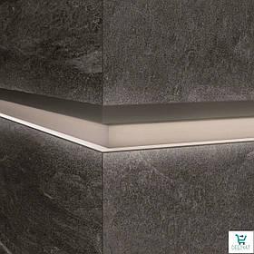 Алюминиевый профиль LQL/2 декоративная вставка для крупногабаритных плит с Led подсветкой 10х59,6х2800мм. Бетон дымчатый