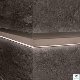 Алюминиевый профиль LQL/2 декоративная вставка для крупногабаритных плит с Led подсветкой 10х59,6х2800мм. Бетонная грязь