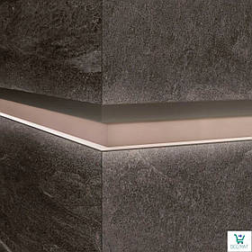 Алюминиевый профиль LQL/2 декоративная вставка для крупногабаритных плит с Led подсветкой 10х59,6х2800мм. Бетонный песок