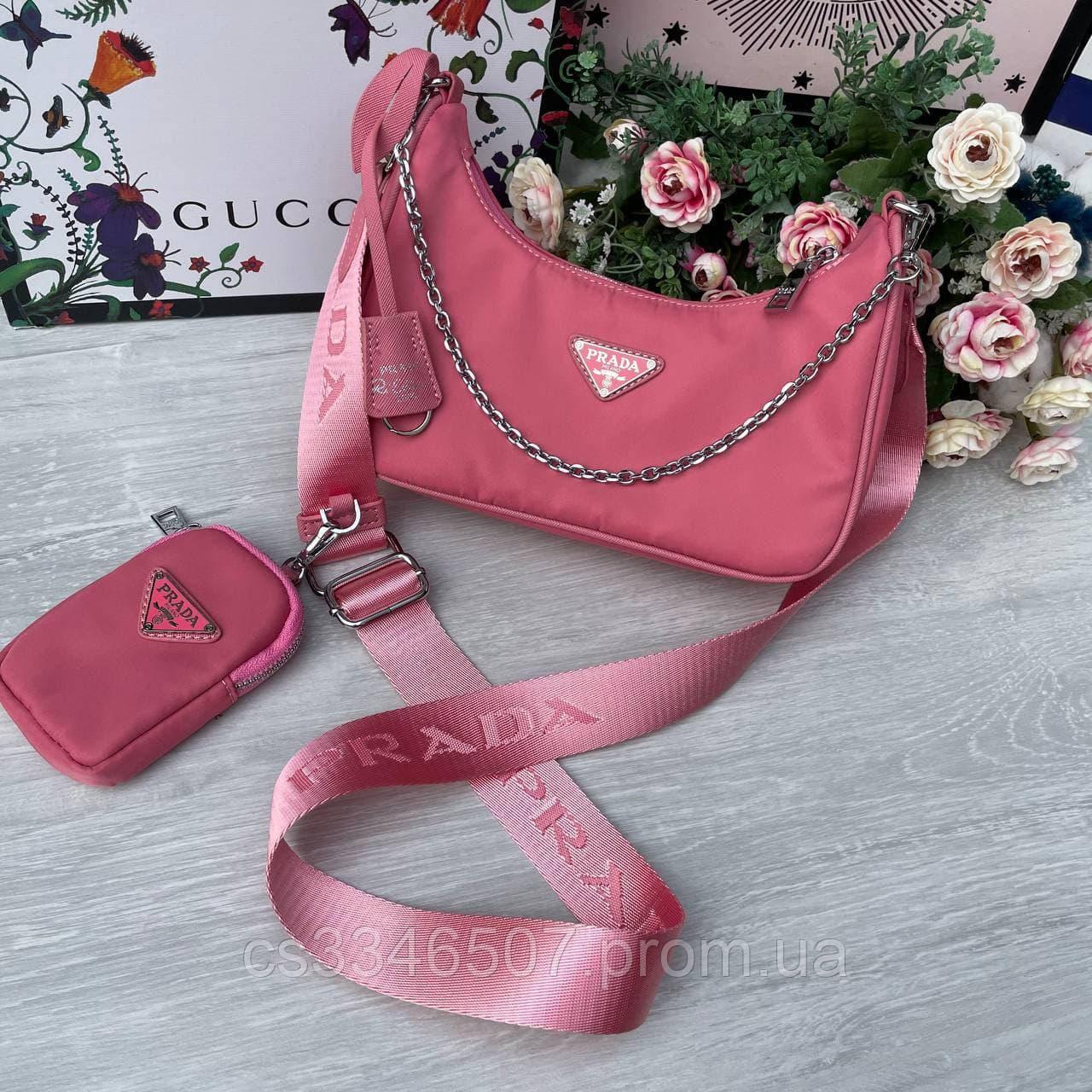 Женская сумка Prada RE-EDITION розовая.Сумка Прада