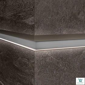 Алюминиевый профиль LQL/2 декоративная вставка для крупногабаритных плит с Led подсветкой 10х59,6х2800мм. Металл светлый
