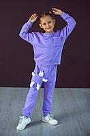 Детский спортивный трикотажный костюм с игрушкой Zabavka Единорожка для девочек лиловый 4-5 лет