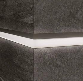 Алюминиевый профиль LQL/2 декоративная вставка для крупногабаритных плит с Led подсветкой 10х59,6х2800мм. Сплошной белый