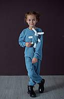 Детский спортивный трикотажный костюм с игрушкой Zabavka Зайка для девочек джинс 4-5 лет