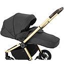 Дитяча коляска темно-сіра Carrello Epica 2в1 золота рама люлька прогулянковий блок сумка дощовик москітна сітка, фото 3
