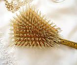 Старовинна бронзова щітка для волосся, щітка з ручкою, бронза, тканина, вишивка, дерево, Англія, вінтаж, фото 5