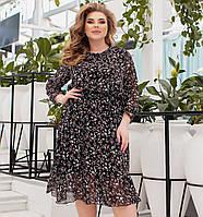 Батальное шифоновое платье миди с длинными рукавами, фото 1