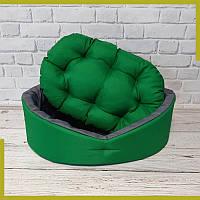 Лежак для собак и котов зеленый/серый - лежанка для животных S