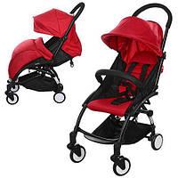 Візок дитячий M 3548-3 YOGA прогулянковий, книжка, колеса 4 шт., рем.безпеки, регул.спинка, червоний