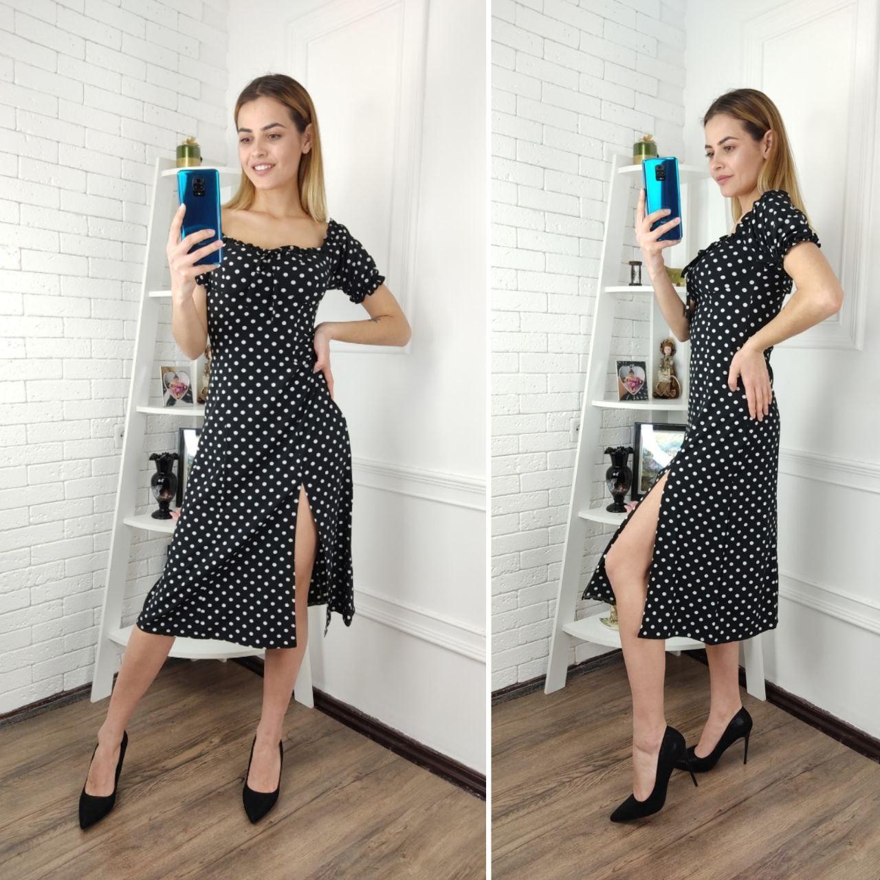 Платье женское с разрезом,  черный
