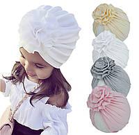 Тюрбан детский, легкие однотонные шапочки для девочки от 6 мес