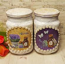 Набор стеклянных банок для сыпучих продуктов с декупажем (2 шт.)