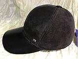 Бейсболка из натуральной замши и кожи 56-58-60 цвет темно коричневый, фото 4