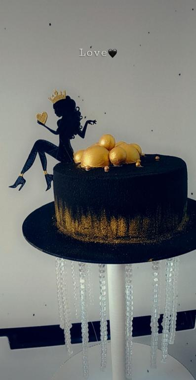Оригинальный тортик для девушки на день рождения с топпером сидящей девушки