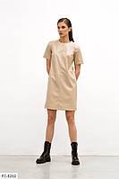 Молодежное короткое женское платье мини из эко кожи с коротким рукавом р-ры 42-48 арт.  3211