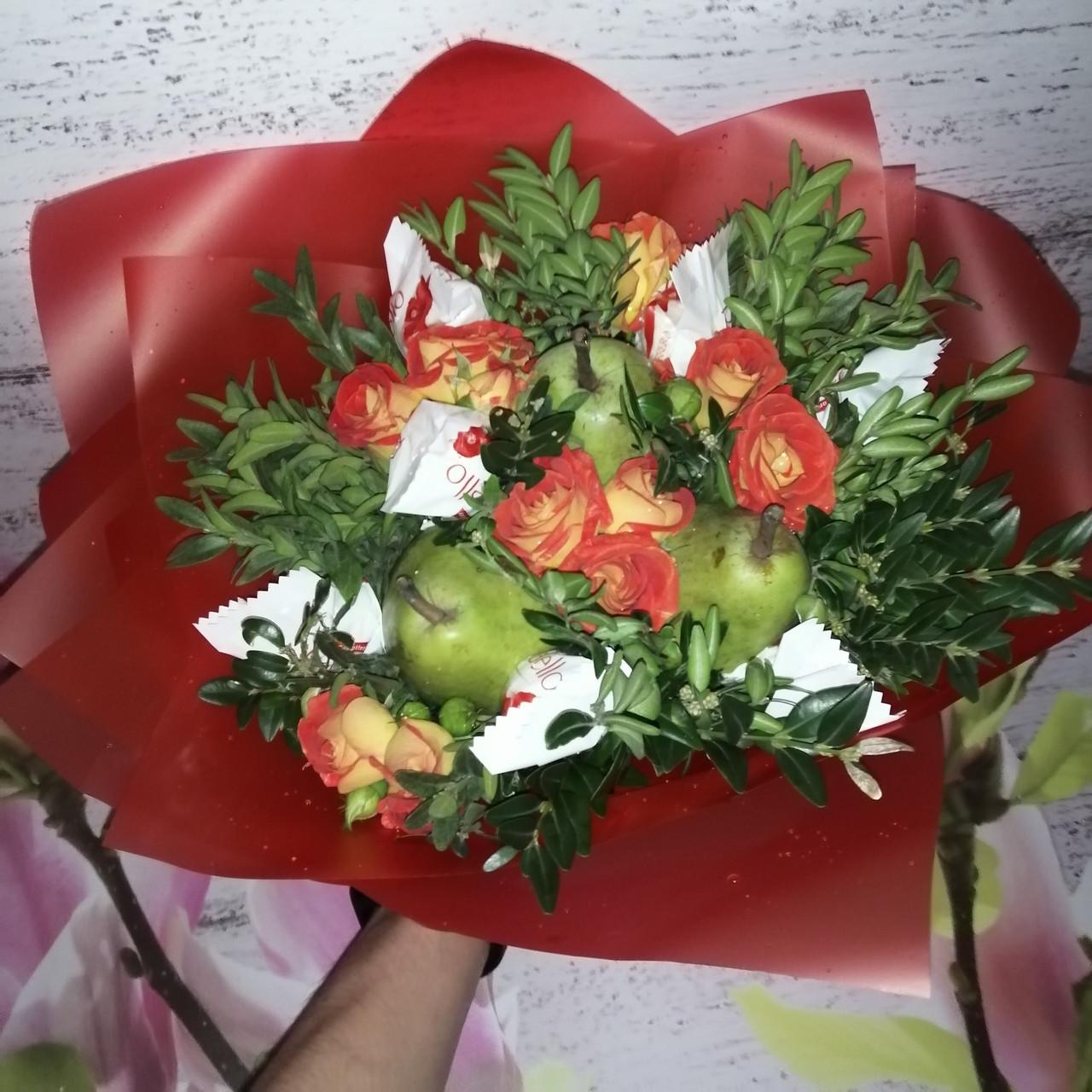 Цветочно- фруктовий букет подарунковий вітальний для жінки Марінет