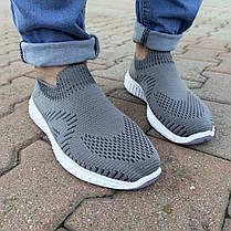 Серые мужские тканевые кроссовки носки летние текстиль легкие беговые без шнурков, фото 3