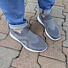 Серые мужские тканевые кроссовки носки летние текстиль легкие беговые без шнурков, фото 2