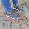 Серые мужские тканевые кроссовки носки летние текстиль легкие беговые без шнурков, фото 4