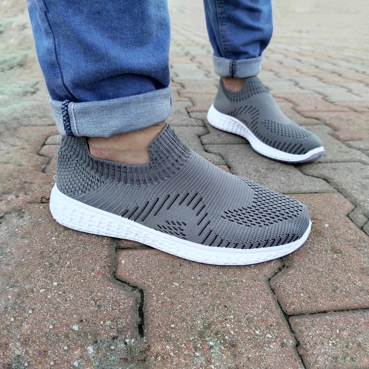 Серые мужские тканевые кроссовки носки летние текстиль легкие беговые без шнурков