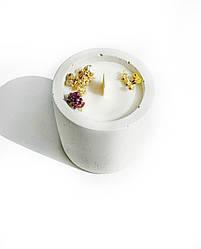 Свеча в бетоне из соевого воска Decoline (бел .) (v-70 мл) S1003-1