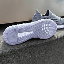 Сірі чоловічі тканинні кросівки шкарпетки літні текстиль легкі бігові без шнурків, фото 2