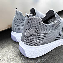Сірі чоловічі тканинні кросівки шкарпетки літні текстиль легкі бігові без шнурків, фото 3