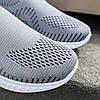 Сірі чоловічі тканинні кросівки шкарпетки літні текстиль легкі бігові без шнурків, фото 5