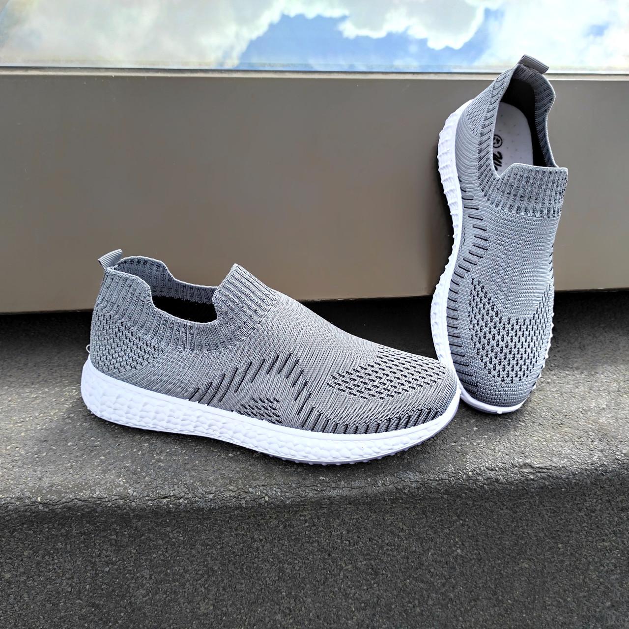 Сірі чоловічі тканинні кросівки шкарпетки літні текстиль легкі бігові без шнурків