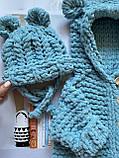 Детский вязаный мягкий плюшевый комбинезон из гипоаллергенной пряжи для девочки и мальчика ручной работы., фото 7