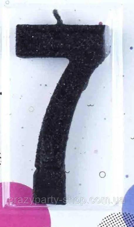 Свеча-цифра для торта черная 7