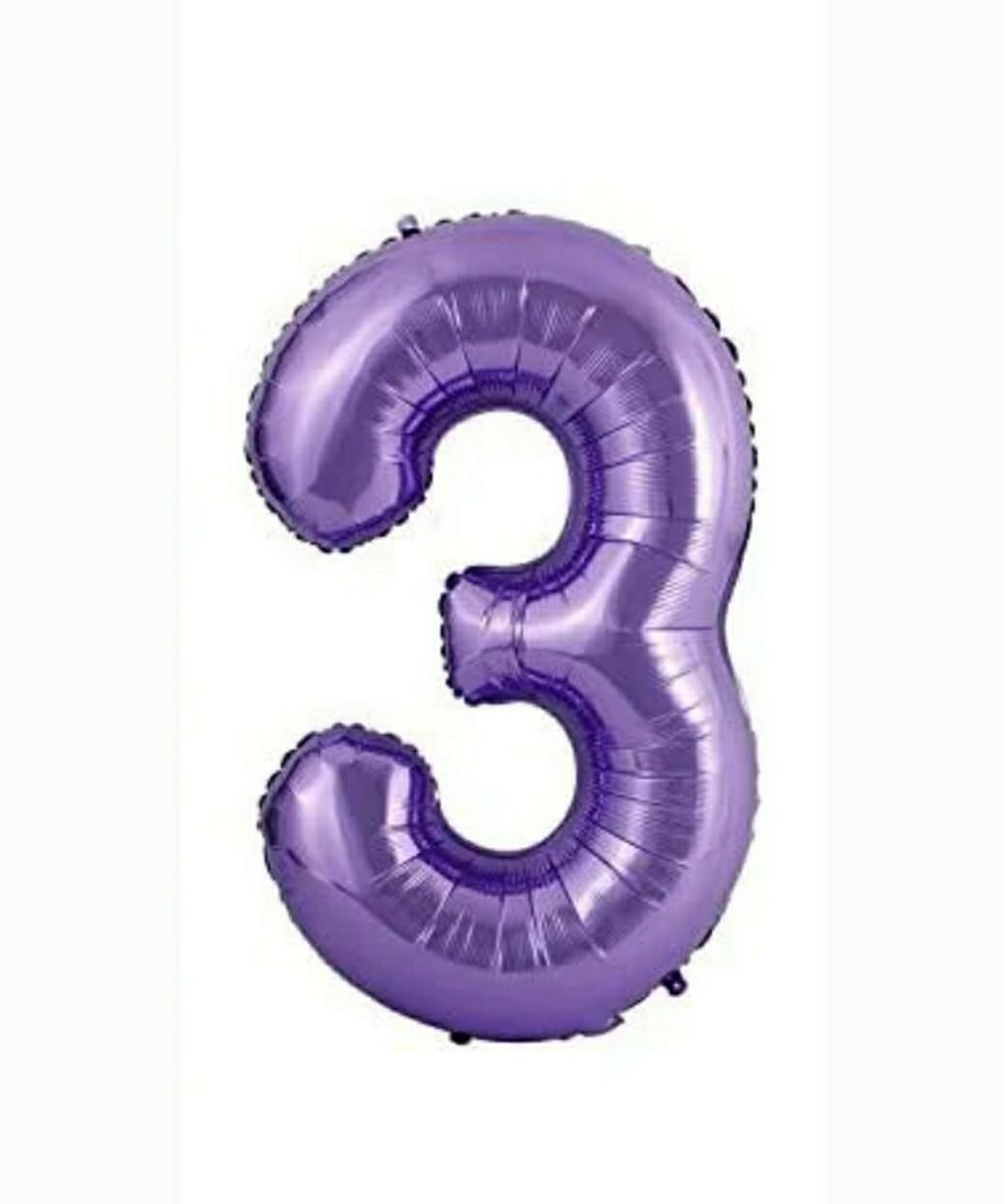 """Фольгована цифра Slim STAR фіолетовий """"3"""" 40"""" (102см) в упаковці"""