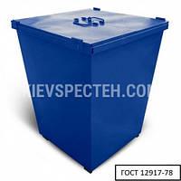 Бак металлический для ТБО, с крышкой V-750 л, синий