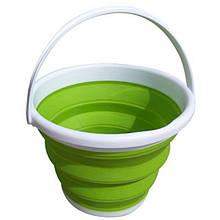 Ведро 10 литров туристическое складное Collapsible Bucket Зелёный