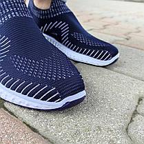 Сині чоловічі тканинні кросівки шкарпетки літні текстиль легкі бігові без шнурків, фото 2