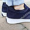 Синие мужские тканевые кроссовки носки летние текстиль легкие беговые без шнурков, фото 2