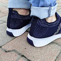 Синие мужские тканевые кроссовки носки летние текстиль легкие беговые без шнурков, фото 3