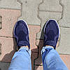 Сині чоловічі тканинні кросівки шкарпетки літні текстиль легкі бігові без шнурків, фото 5
