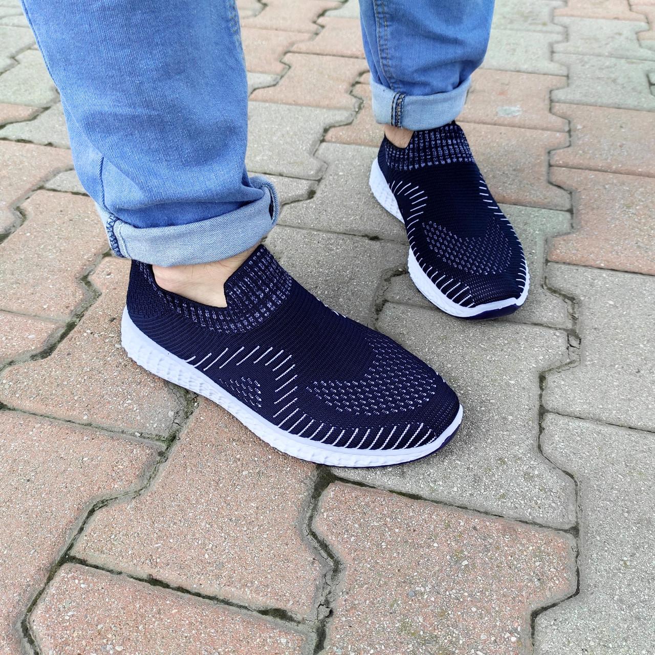Синие мужские тканевые кроссовки носки летние текстиль легкие беговые без шнурков