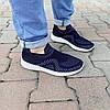 Синие мужские тканевые кроссовки носки летние текстиль легкие беговые без шнурков, фото 4