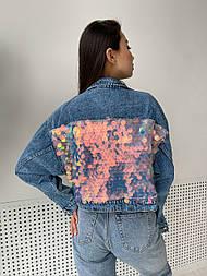 Куртка джинсова жіноча коротка з паєтками (в кольорах)