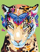 """Набор, акриловая живопись по номерам, """"Jaguar and butterflies"""", ROSA START~#~Набір, техніка акриловий живопис"""